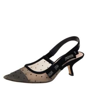 Dior Black Mesh And Suede J 'Adior Slingback Sandals Size 37.5