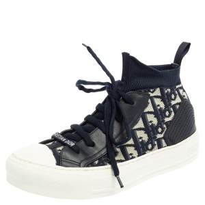 Dior Blue/White Technical Knit and Leather Walk'n'Dior High-Top Sneakers Size 35