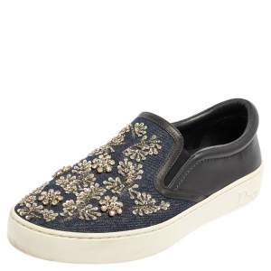 Dior Blue/Black Canvas And Leather Embroidered Slip On Sneakers Size 37.5