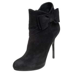 Dior Black Suede Bow Detail Platform Ankle Boots Size 37