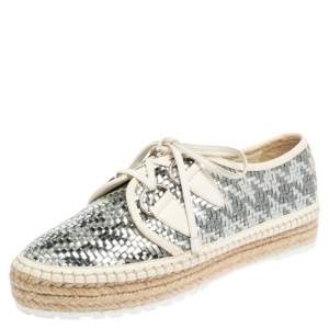 Dior Metallic Silver/White Woven Leather Espadrille Low Top Sneakers Size 39.5