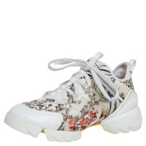 Dior Multicolor Printed Neoprene And White Leather D-Connect Kaleidoscopic Sneakers Size 36.5