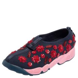 Dior Blue Mesh Fusion Floral Embellished Slip On Sneakers Size 38
