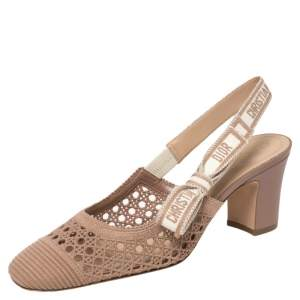 Dior Beige Fabric Moi Slingback Sandals Size 39