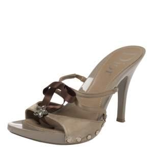Dior Grey/Brown Satin Bow Slide Sandals Size 38
