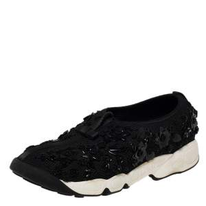 Dior Black Mesh Fusion Embellished Low Top Sneakers Size 39.5