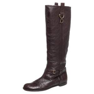 Dior Burgundy Cannage Leather Knee Length  Boots Size 39