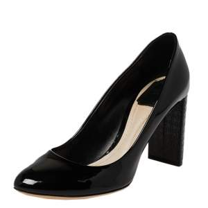 Dior Black Patent Leather Cannage Block Heel Pumps Size 38