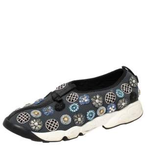 Dior Grey Mesh and Fabric Fusion Slip On Sneakers Size 39