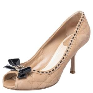 Dior Beige/Black Cannage Leather Bow Peep Toe Pumps Size 36.5