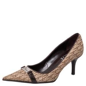 Dior Beige/Brown Canvas And Leather Trim Logo Embellished Pumps Size 37
