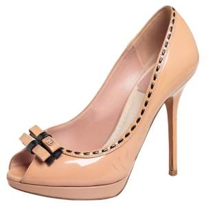 Dior Beige Patent Leather Idyll Peep Toe Pumps Size 36