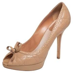 Dior Beige Cannage Leather Bow Peep Toe Platform Pumps Size 38.5