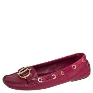 Dior Pink Leather CD Logo Slip On Loafers Size 37.5
