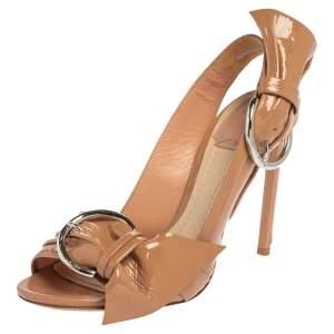Dior Beige Patent Leather Cosmopolitan Sandals Size 36.5