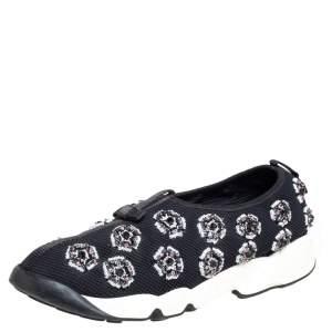 حذاء رياضي ديور فيوجن شبك أسود مزين بالكريستال مقاس 39