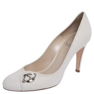 Dior White Leather Slip On Logo Pumps Size 37