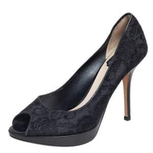 حذاء كعب عالي ديور دانتيل أسود بمقدمة مفتوحة مقاس 39