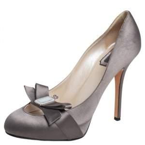 Dior Grey Satin 60th Anniversary Bow Platform Pumps Size 39