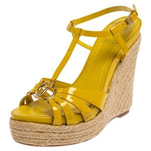 Christian Dior Yellow Patent Leather CD2 T-Strap Espadrille Wedges Size 39