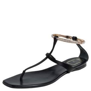 Dior Black Satin Embellished T Strap Flat Sandals Size 39