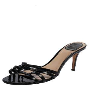 Dior Black Patent Leather Strappy Slide Sandals Size 41