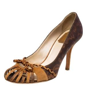 Dior Brown Embossed Leather Cut Out Pumps Size 38.5