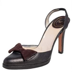 Dior Metallic Brown Lizard Slingback Bow Sandals Size 39.5