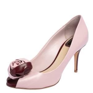 Dolce & Gabbana Purple Leather Rose Peep Toe Pumps Size 39.5