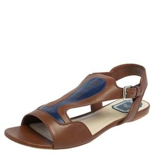 Dior Brown/Blue Leather Chromatic Slingback Flat Sandals Size 41