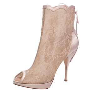 Dior Beige Floral Lace & Satin Peep Toe Platform Booties Size 39