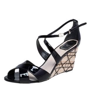 Dior Black Patent Leather Escapade Wedge Sandals Size 41