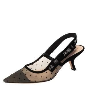 Dior Black Mesh And Suede J'Adior Slingback Sandals Size 39.5