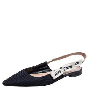 Dior Black Technical Fabric J'Adior Ballerina Slingback Flats Size 37
