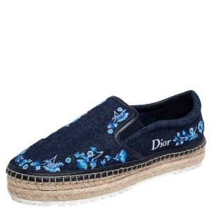 Dior Blue Floral Embroidered Denim Prairie Espadrille Slip On Sneaker Size 38