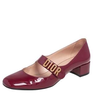 Dior Burgundy Patent Leather Baby-D Mary Jane Pumps Size 38