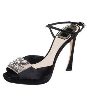 Dior Black Satin and PVC Crystal Embellished Open Toe Platform Ankle Strap Sandals Size 38