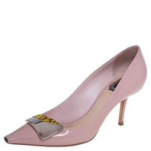 Dior Pink Patent Leather And Python Embossed Logo Pointed Toe Pumps Size 37