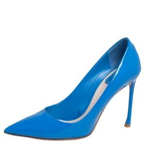 Dior Blue Patent Leather Dioressence Pointed Toe Pumps Size 39.5