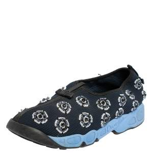 Dior Blue Mesh Fusion Embellished Sneakers Size 41