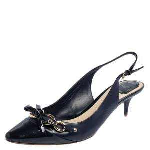 Dior Blue Patent Leather Chain And Bow Embellished Slingback Sandals Size 41.5