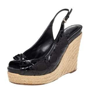 Dior Black Cannage Patent Leather Espadrille Wedge Sandals Size 40