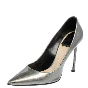 Dior Silver Patent Leather Cherie Pointed Toe Pumps Size 38