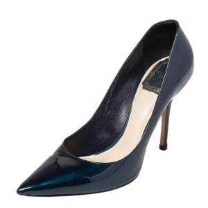 Dior Metallic Dark Green Patent Leather Cherie Pointed Toe Pumps Size 37.5