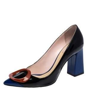 Dior Tri Color Patent Leather Ovale Block Heel Pumps Size 37