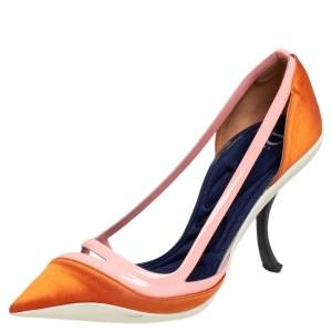 Dior Two Tone Orange Patent Leather And Satin Pointed Toe Curved Heel Pumps Size 37.5