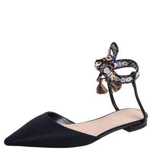 حذاء فلات ديور جاديور قماش أسود بمقدمة مدببة بحزام كاحل مقاس 40.5