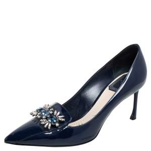 Dior Blue Patent Leather Crystal Embellished Pointed Toe Pumps Size 37