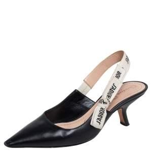 Dior Black Leather J'Adior Pointed Toe Slingback Sandals Size 36.5