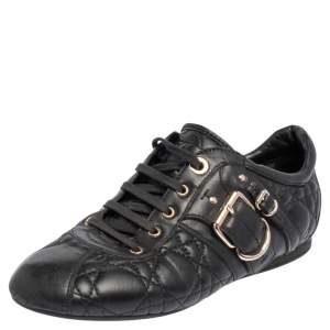 Dior Black Cannage Leather Low Top Sneakers Size 37.5